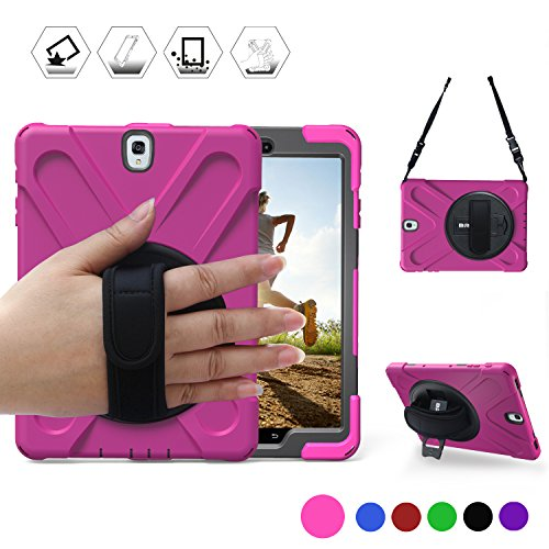 Galaxy Tab S2 9.7 Case,BRAECN Full-Body Shockproof Anti-Slip Protective Case with 360 Degrees Rotatable Kickstand/a Hand Strap/a Shoulder Strap for Samsung SM-T810/SM-T815/SM-T813 (Rose Red)