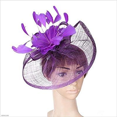 417d41db6a6 Sombrero fascinador Mujeres Señoras Niñas Sinamay Diadema de plumas de  flores Fascinator Boda Headwear Señoras Race Royal Ascot Pastillero  Cocktail Party ...