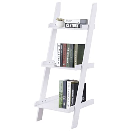 New White Bookcase Storage Rack Display Furniture 3 Tier Leaning Wall Ladder Book Shelf