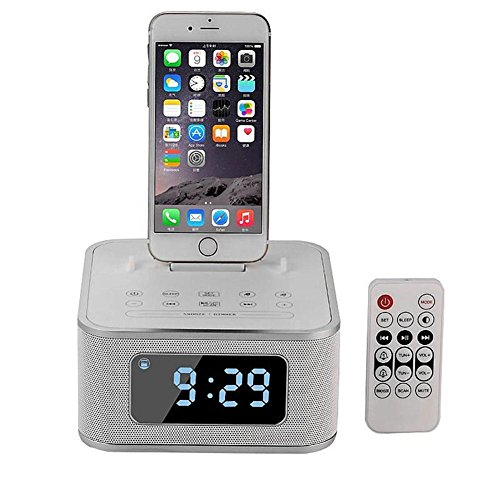 Alarm Clock with Stereo Speaker FM Radio USB Charging Wireless Remote Control MP3 Player, White ()