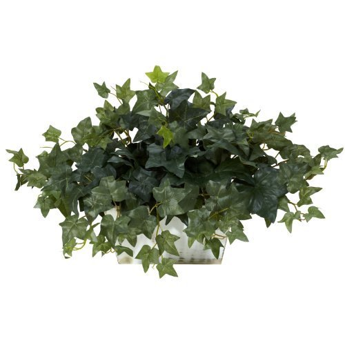 Nearly Natural 6715 Ivy with White Wash Decorative Silk Plant, Green by Nearly Natural