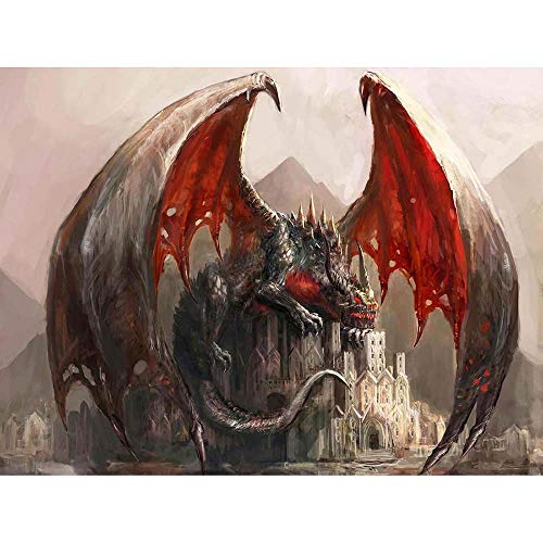Pictures Dragon Wings - Wee Blue Coo Painting Illustration Fantasy Dragon Castle Wings Unframed Wall Art Print Poster Home Decor Premium