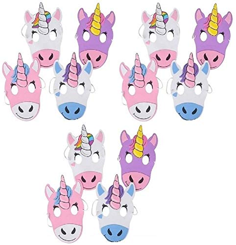 (Novelty Treasures Unicorn Masks - 12 Pack - CUTE Halloween and Birthday Party)