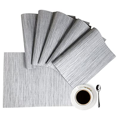 "Placemats Place Mat Gray Table Mats Set of 6 Non Slip Easy to Clean Wipeable Crossweave Woven Vinyl Washable Place Mats for Dining Kitchen Restaurant Table - Material:The placemats are made of environmental PVC material, this placemat size in 18""x12"" (45cmx30cm),pack of 6 table placemats. The Features:The table mats are non-slip, heat insulation, also these table placemats are easy to clean, just use wet towel or cloth to wipe off, meanhile, this farmhouse placemats can be washed by soft brush. Protecting your table with these durable place mats. The highest temperature of heat insulation is 100 degree; Elegant Design:The modern placemats are perfect addition to your dinner table,beautiful stylish gray placemats to add more fun to your kitchen dining table,coffee time; - placemats, kitchen-dining-room-table-linens, kitchen-dining-room - 51QPl9KE3zL. SS400  -"