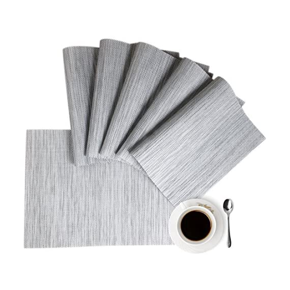 """Placemats Table Mats Gray Placemat Set of 8 Easy to Clean Non Slip Wipeable Place Mats Heat Resistant Farmhouse Modern Thanksgiving Christmas Table Mats for Dining Kitchen Table - Material:The table placemats are made of environmental PVC Material, these placemats for dining table are size in 18"""" x 12"""" (45cm x 30cm), pack of 8. The Features: The placemats set of 8 are non slip, heat insulation, easy to clean, just use wet towel or cloth to wipe off, also these gray placemats can be washed by soft brush. Protecting your table with these durable farmhouse placemats. The highest temperature of the placemats gray for heat insulation is 100 degree; Elegant Design: these kitchen placemats set of 8 are perfect addition to your dinner table,beautiful stylish and modern placemats to add more fun to your kitchen table,coffee time; - placemats, kitchen-dining-room-table-linens, kitchen-dining-room - 51QPl9KE3zL. SS570  -"""