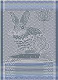 Garnier Thiebaut, Lapin Bleu Design, (Rabbit, Blue) French Jacquard Kitchen / Tea Towel, 100 Percent Cotton