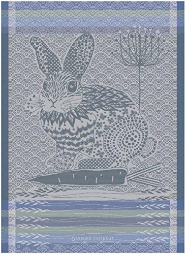 Garnier Thiebaut Towel (Garnier Thiebaut, Lapin Bleu Design, (Rabbit, Blue) French Jacquard Kitchen / Tea Towel, 100 Percent Cotton)