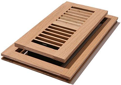 12 White Flush (Venice Wooden 4x12 White Oak Wood Vent Floor Register Flush Unfinished Damper by Venice)