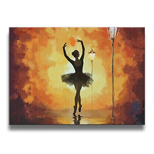 Warm-Tone Art Ballet Dance Girl Beside The Street Lamp Canvas Prints Wall Art Oil Paintings for Living Room Dinning Room Bedroom Home Office Modern Wall Decor 20x16 Inch by Warm-Tone