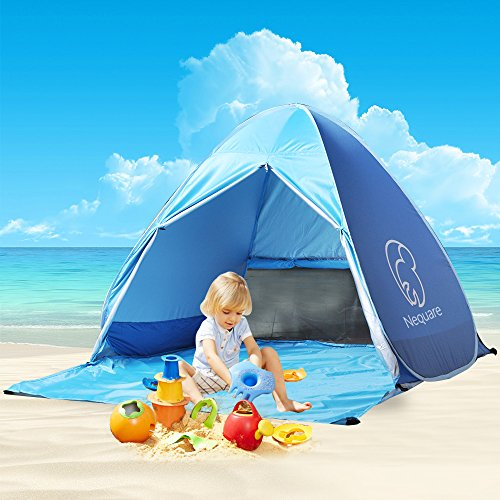 Nequare Pop Up Beach Tent Sun Shelter UV Protection Beach shade Portable Camping Tent for 2-3 Person (Blue)