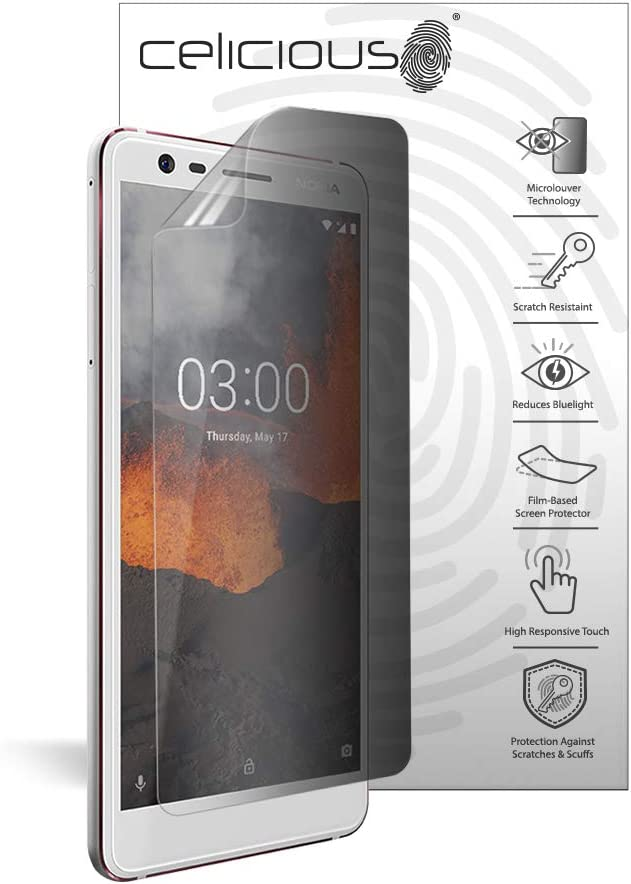 Celicious Privacy Lite 2-Way Anti-Glare Anti-Spy Filter Screen Protector Film Compatible with Nokia 3.1