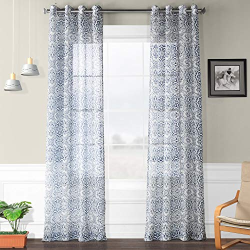 HPD Half Price Drapes SHCH-PS18074-108-GR Mardi Gras Grommet Printed Sheer Curtain, 50 x 108, -