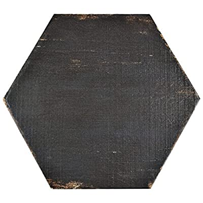 SomerTile 14.125x16.25-inch Lambris Negre Hex Porcelain Floor and Wall Tile (Case of 9)