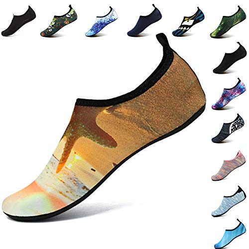 VIFUUR Unisex Quick Drying Aqua Water Shoes Pool Beach Yoga Exercise Shoes for Men Women Beach Yellow