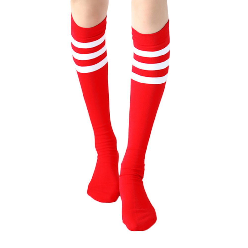 2 Pairs Soccer Socks Color Stripes Red Blancho Bedding