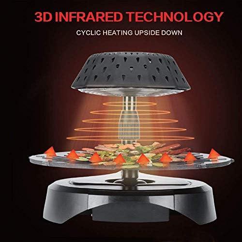 Z@SS 3D Portable sans Fumée Électrique Barbecue À Infrarouge,Poêle Antiadhésive Rotation À 45 ° Four Barbecue
