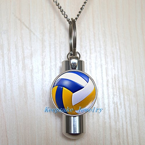 Cute Volleyball Urn Cremation Necklace Locket, Perfume Vial, Ashes Locket, Silver Cute Volleyball Cremation Locket, Silver Ashes Locket, Memorial Locket-nu215