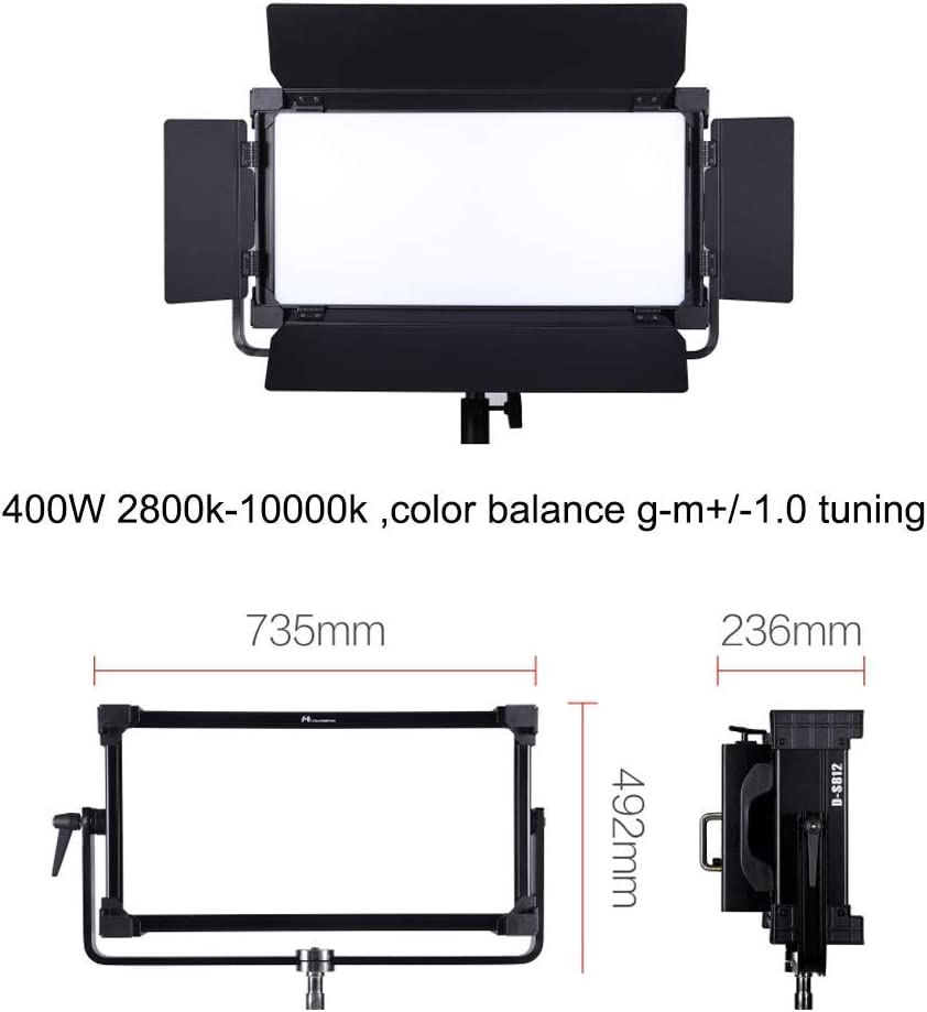 Falconeyes DESAL D-S812 400w RGBW Soft Panel LED Video Lighting 2800k-10000k HSI Control with DMX,Support Mobile App