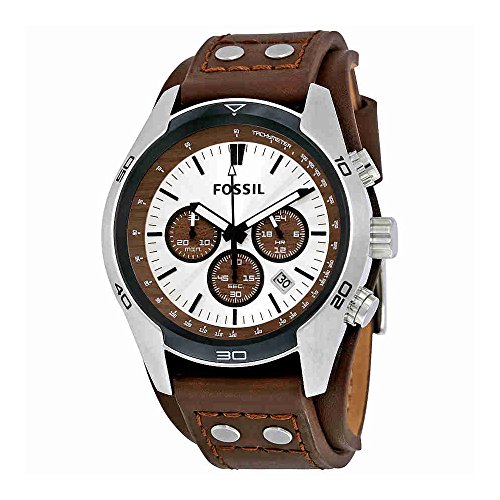 Look Cuff Watch - Fossil Men's Coachman Quartz Stainless Steel and Leather Chronograph Watch, Color: Silver, Brown (Model: CH2565)