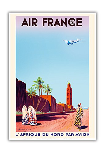 Marrakech, Morocco - North Africa by Air (L'Afrique Du Nord Par Avion) - France - Vintage Airline Travel Poster by Maurice Guiraud-Riviére c.1934 - Master Art Print - 13in x 19in