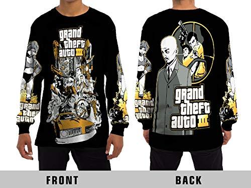 Demonic Grand Theft Auto III Street Fight Long with GTA 3 Unisex Adult Sublimation Print for Men and Women Long Sleeve T-Shirt (Medium) (Gta 3 Shirt)