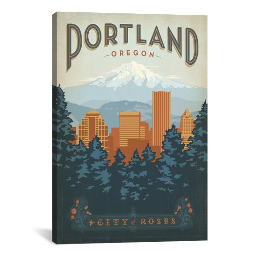 iCanvasART Portland Oregon by Anderson Design Group Canvas Art Print, 26 by 18-Inch