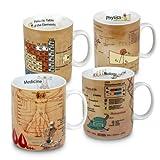 Konitz Mugs Of Knowledge, Mugs Medicine, Physics, Chemistry, Biology (Set of 4), White