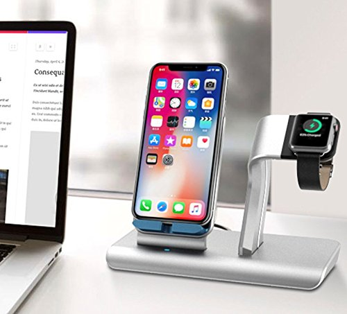 X DODD Replacement for Apple Watch Charging Dock,&Wireless iPhone Charging Stand for iPhone X 8 8 plus Samsung S9/S9+/S8/S8+/S7/Note 8,iWatch Charger Station Holder for iPhone iWatch Series 1/2/3 by XDODD (Image #1)