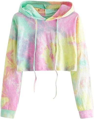 POTO Women Pullover Tops,Womens Letter Print Sweatshirt Solid Crop Top Hoodis Teen Girls Fashion Long Sleeve Tee Shirts