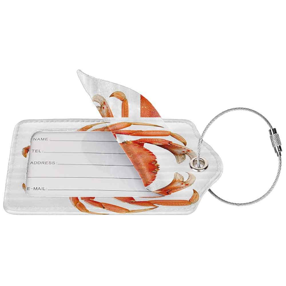 Modern luggage tag Crabs Decor Sea Animals Theme a Cooked Dungeness Crab with National Marks Digital Image Suitable for children and adults Orange White W2.7 x L4.6