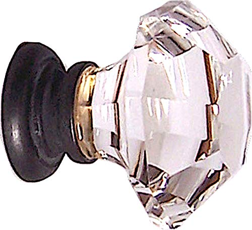 (Two Oversized Asscher-Cut Old Town Lead Crystal BiFold /Wardrobe Knobs, almost 2