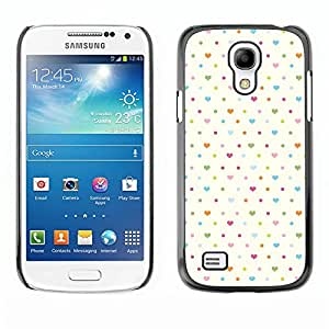 All Phone Most Case / Hard PC Metal piece Shell Slim Cover Protective Case Carcasa Funda Caso de protección para Samsung Galaxy S4 Mini i9190 MINI VERSION! polka dot heart white baby blue cle