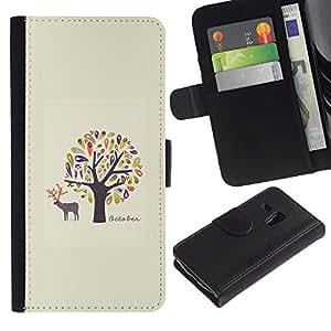 Billetera de Cuero Caso Titular de la tarjeta Carcasa Funda para Samsung Galaxy S3 MINI NOT REGULAR! I8190 I8190N / Birds Owl Minimalist Deer Nature / STRONG