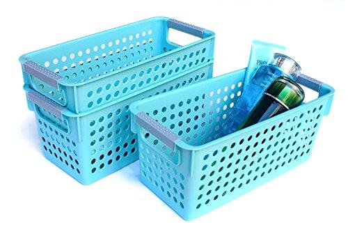 Honla Slim Plastic Storage Baskets Bins Organizer with Gray Handles,Set of 3,Blue