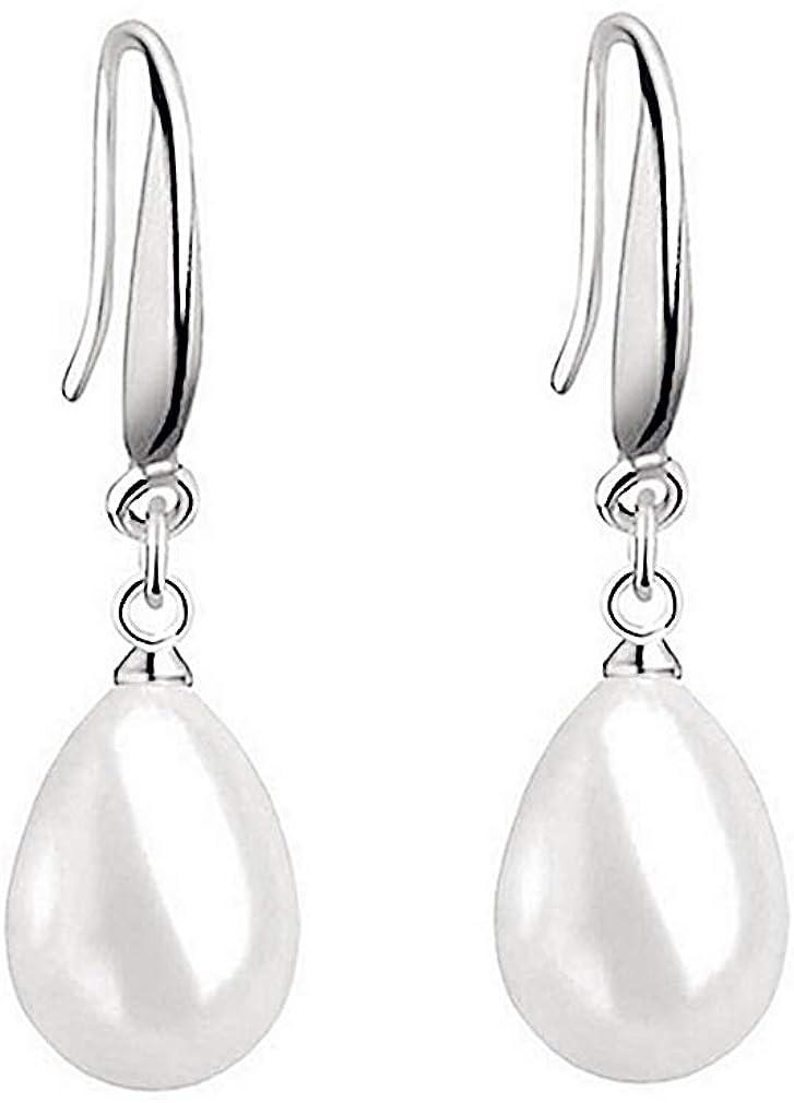 Pendientes mujer de plata de ley 925, Pendientes largos con colgantes con forma de gota de agua y perla blanca, con caja de regalo de joyería exquisit