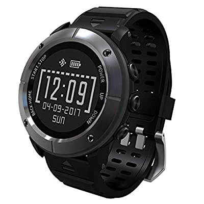 UWEAR GPS Smart Watch,Bluetooth IP68 Waterproof Stainless Steel Smart Watch,Black Smart Men Watch with Global Positioning System,Heart Rate,Compass,Pedometer for IOS Iphone,Android