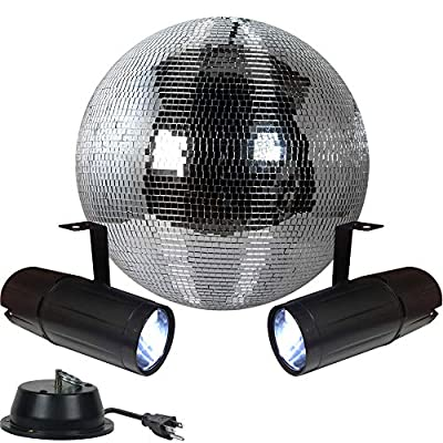 "12"" Disco Mirror Ball Complete Party Kit with 2 LED Pinspots and Motor - Adkins Professional Lighting from Adkins Professional lighting"
