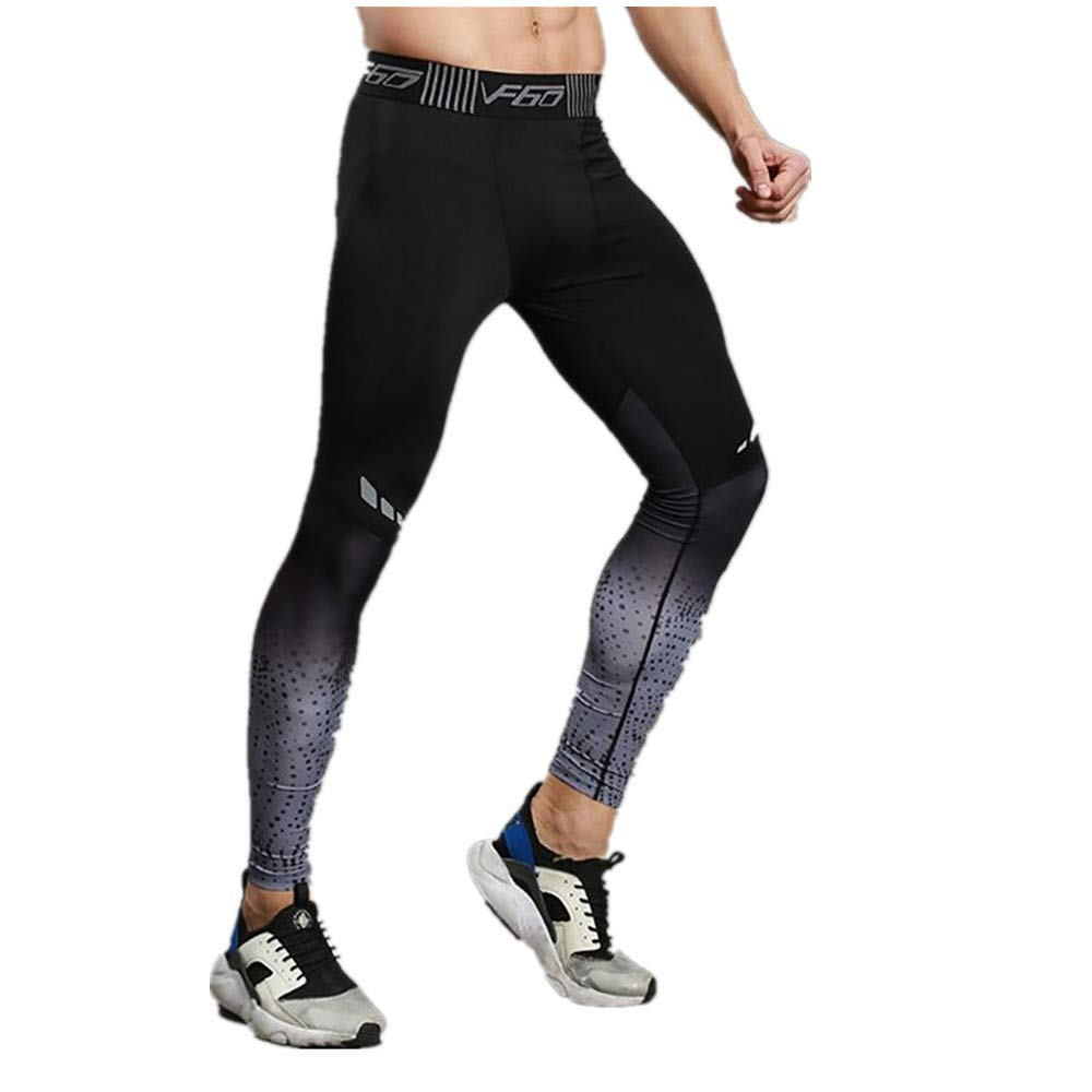 Jiayit Men Workout Leggings Fitness Pants Elastic Quick-Drying Breathable Pant Trousers Gray