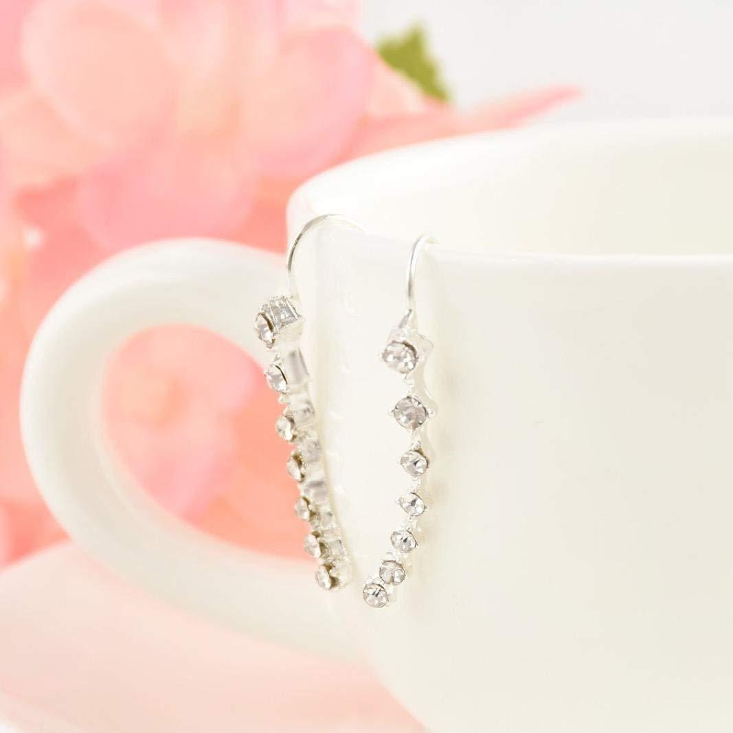 37-Niuyongmaoyi Nice Ladies Earrings Women Fashion Rhinestone Gold Silver Crystal Earrings Ear Hook Stud