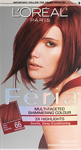 LOreal Feria Multi-Faceted Shimmering Color 3X Highlights Very Rich Auburn and Warmer 66 - ( Pack of 1)