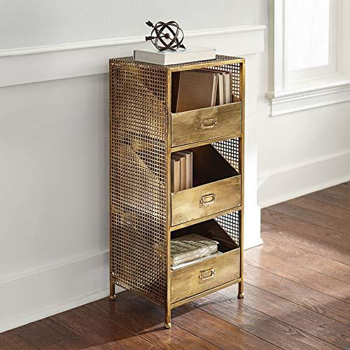 BrylaneHome Maeve 3-Drawer File Storage - Antique Brass Brass Antique Storage Cabinet