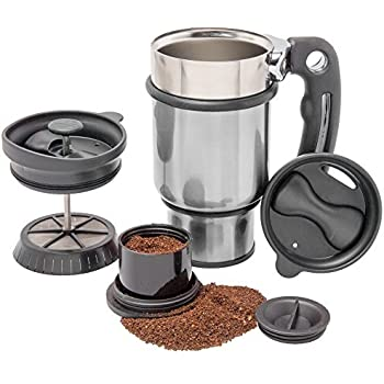 French Press Travel Mug with Handle, Storage Container for Extra Coffee, and 2 Spill Proof Lids - 14 oz - Silver