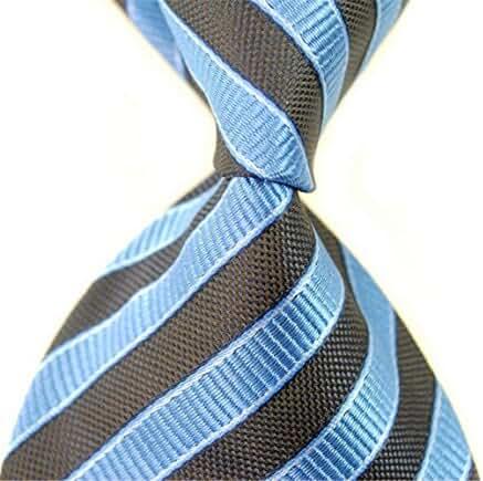 Allbebe Men Causal Brown Blue Jacquard Woven Silk Tie Microfiber Formal Necktie