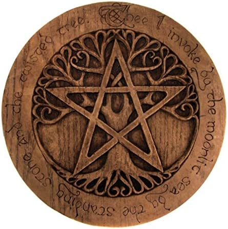 Large Tree Pentacle Plaque Wood Finish