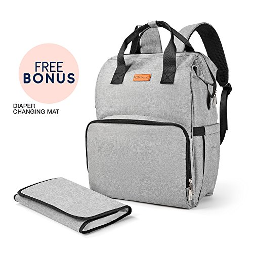 Diaper Bag by Fifth Dimension – Large Capacity Baby Diaper Bag – Multi-Functional Waterproof Diaper Backpack with Stroller Straps for Travelling and Shopping – Fashion Diaper Bag for Women&Men (Gray)