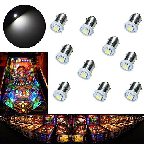 PA 10PCS #1893 #44 #47 #756 #1847 BA9S 1SMD LED Wedge Pinball Machine Light Bulb White-6.3V by PA