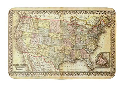 Lovestand-Doormat Welcome Mat Indoor/Outdoor Bath Floor Rug Decor Art Print with Non Slip Backing 18X30 inch Antique map United States America USA Vintage 1867 Bathroom mat