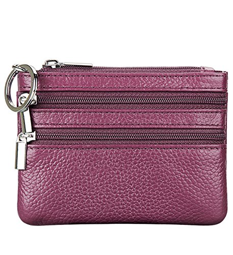 Mini Leather Key Tag - SINIANL Women's Genuine Leather Zipper Card Case Wallet Mini Coin Change Pouch Purse with Key Ring