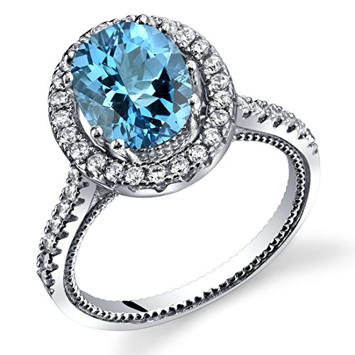 Blue Topaz Milgrain Ring - Swiss Blue Topaz Halo Milgrain Ring Sterling Silver 2.00 Carats Size 7