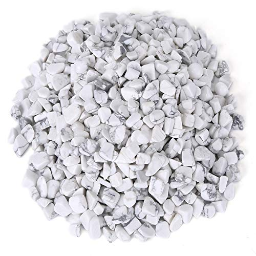 - favoramulet White Howlite Turquoise Tumbled Stone Chips, Polished Crushed Healing Crystal Quartz Pieces Vase Filler 1 LB